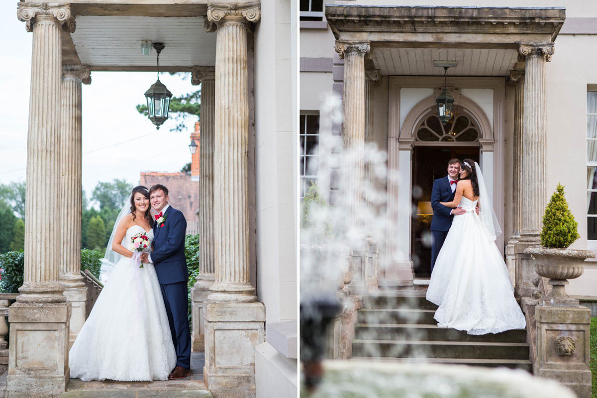 bride and groom portrait in doorway of brockencote hall