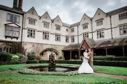 bride groom portrait coombe abbey fountain grounds