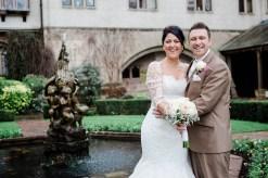 bride groom portrait fountain