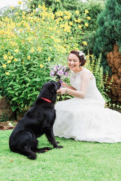 bride dog wedding day quirky fun greeting somerford hall
