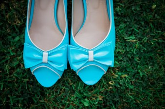 cute blue shoes wedding bride