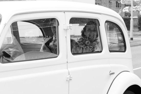 documentary bride car excited arrival church leamington spa somerford