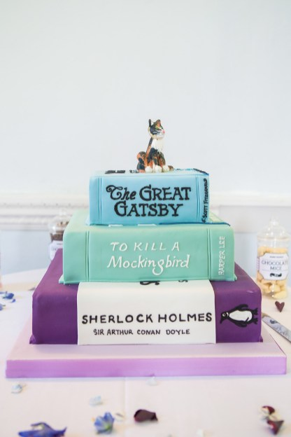 book themed wedding cake pet cat topper quirky relaxed wedding