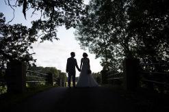 silhouette bride groom bridge somerford hall