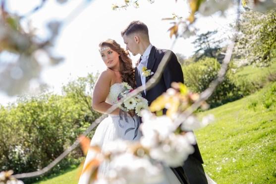 wroxhall abbey wedding portrait blossom