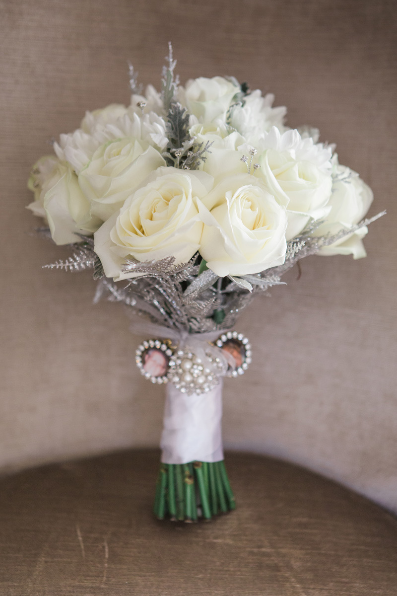 Cream Rose Bouquet with silver details and remembrance lockets