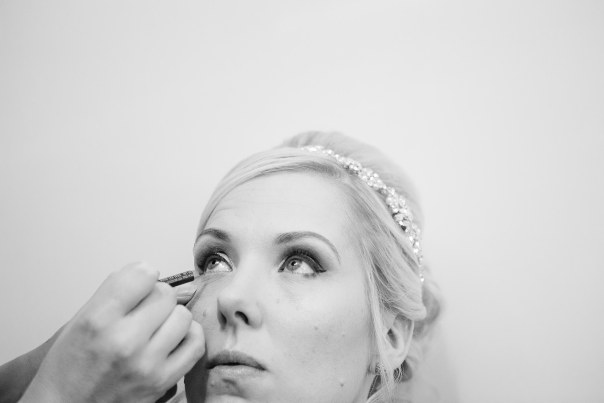 Winter Bride having makeup applied