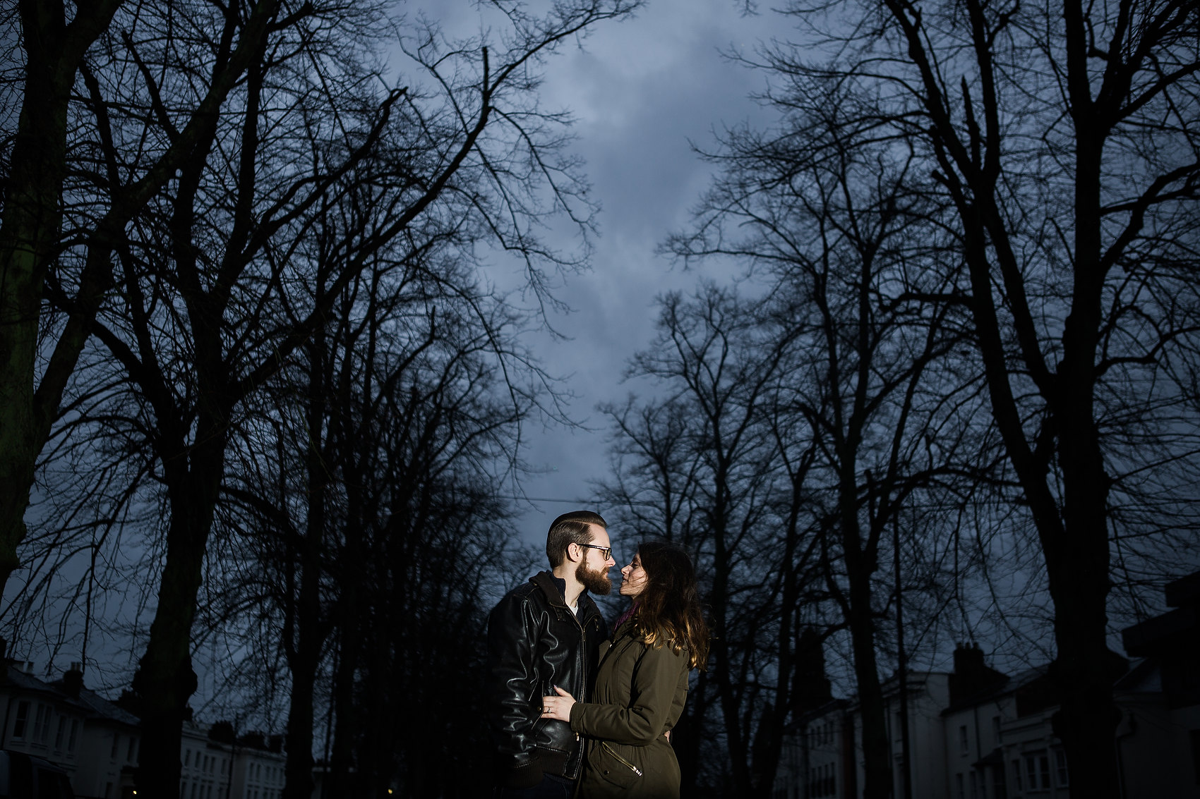 night time shot of couple in leamington spa pre wedding shoot