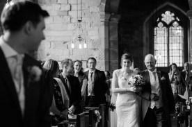 emotional bride walks down aisle bradley church