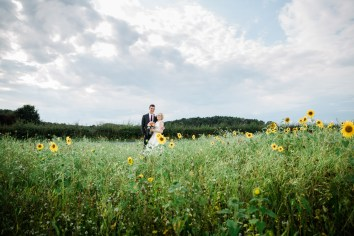 Barn Weddings Warwickshire Couple embrace in sunflower field swallows nest barn Stratford Upon Avon