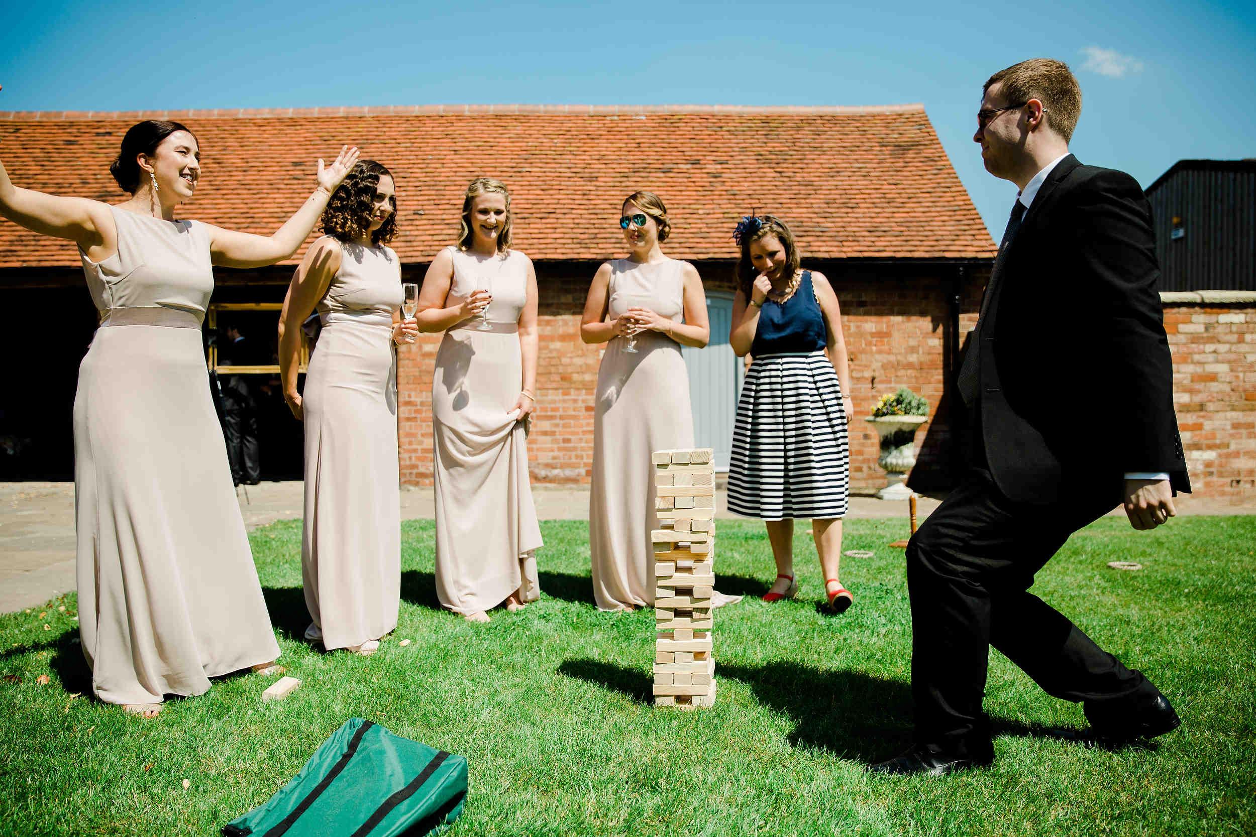 giant jenga at swallows nest barn wedding garden games