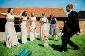 giant jenga at swallows nest barn wedding garden games