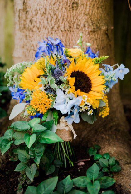 bouquet of yellow and blue flowers