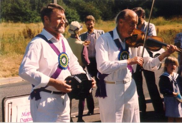 Martin and Ron Nunn outside The Blue Ball, Walton on the Hill, c.1991