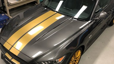 Ford 2017 Mustang - Gold Double Overhead Racing Stripes