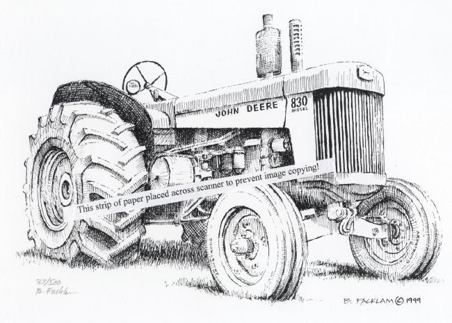 John Deere Model 830 Diesel Farm Tractor ~ Signed Print