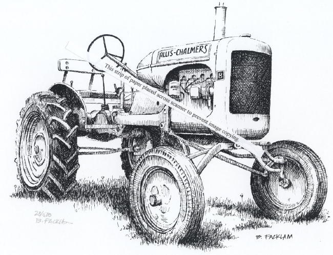 Allis Chalmers 1937 Model B Farm Tractor ~ Signed Print