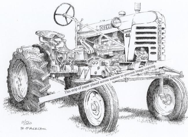 Oliver Super 44 Farm Tractor ~ Signed Print