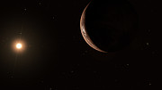 Artist's impression of Barnard's Star and its super-Earth