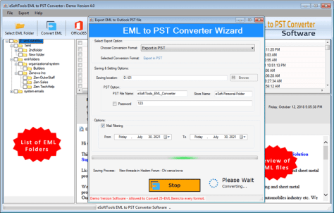 EML to PST Converter Easily Export & Import EML files to