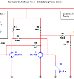 t when in the off state be able to be powered on with a pushbutton and then turned off through software on the arduino here is the circuit diagram  [ 1204 x 782 Pixel ]