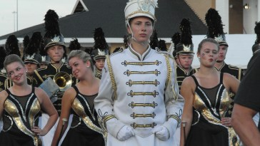 Senior Allison Selley leads the marching band, 2016