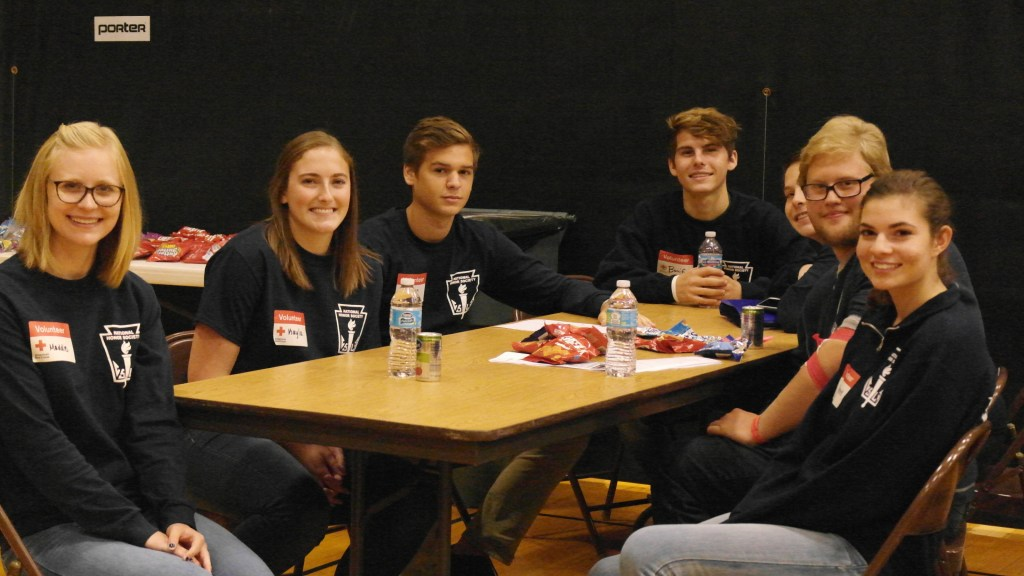 A group of NHS student volunteer at the blood drive (photo by Leah Cote)
