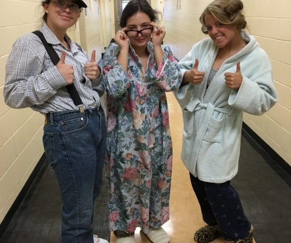 Junior Nicole Atkinson dressed as a grandpa, while Juniors Clare Rodzos and Brooklyn Pollock were dressed as grandmas!