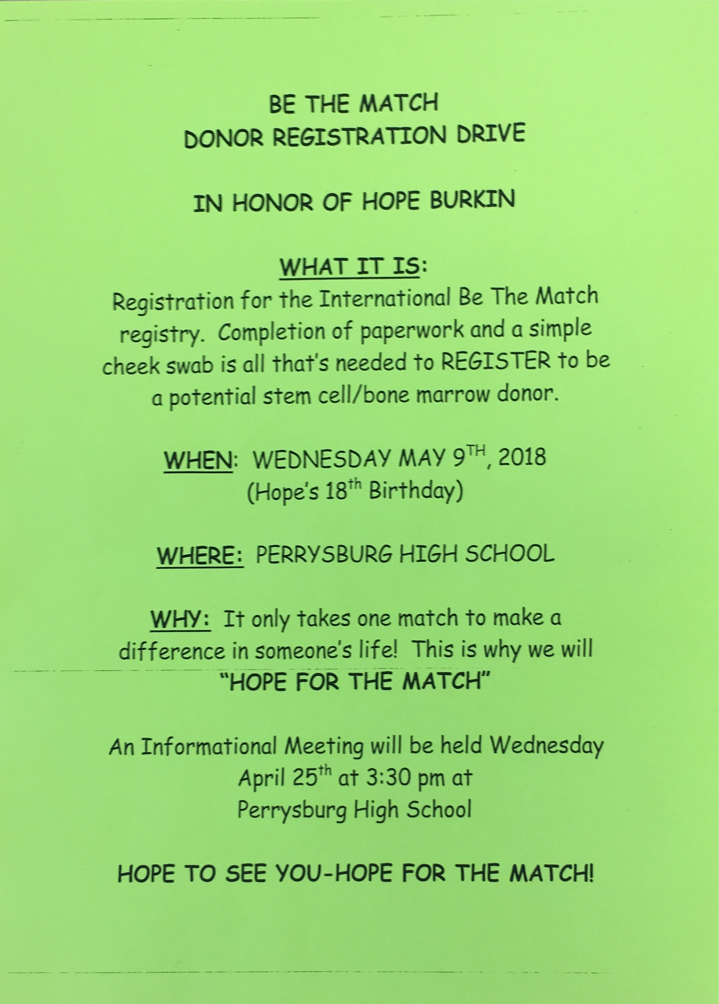 Hope For The Match–In Honor of Hope Burkin