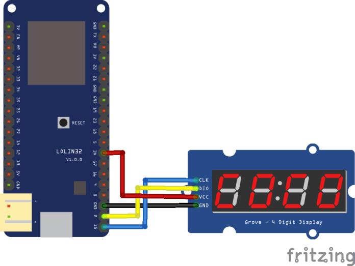 esp32 and tm1637 display