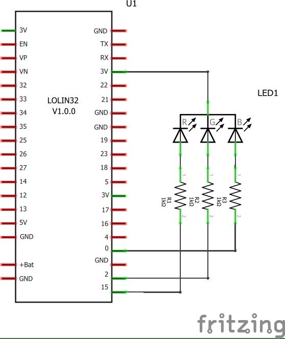 esp32 and rgb led
