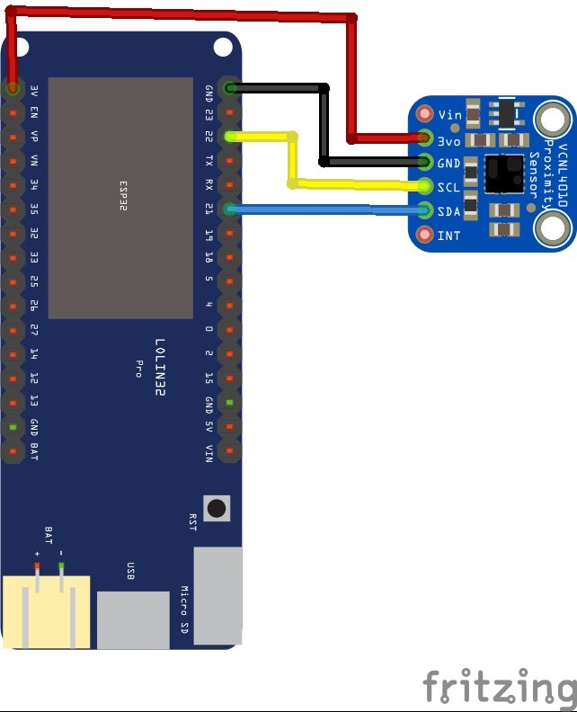 esp32 and VCNL4010 layout