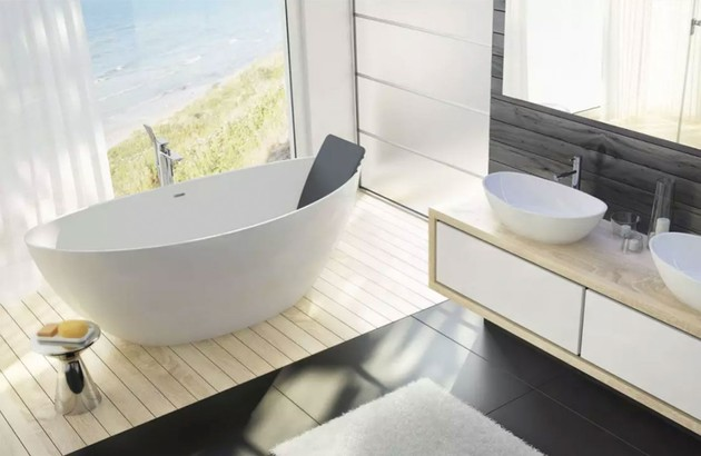 baignoire ovale pour une salle de bain