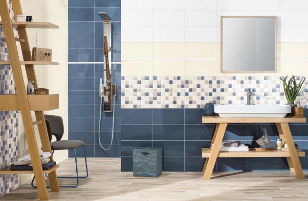 carrelage bleu dans la salle de bain