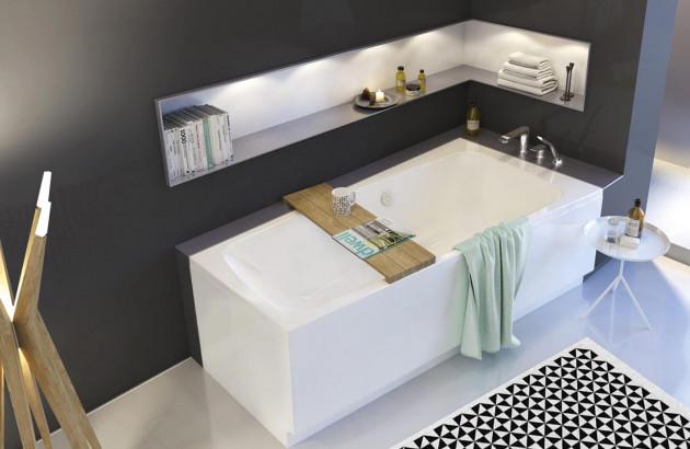 rangements autour de la baignoire