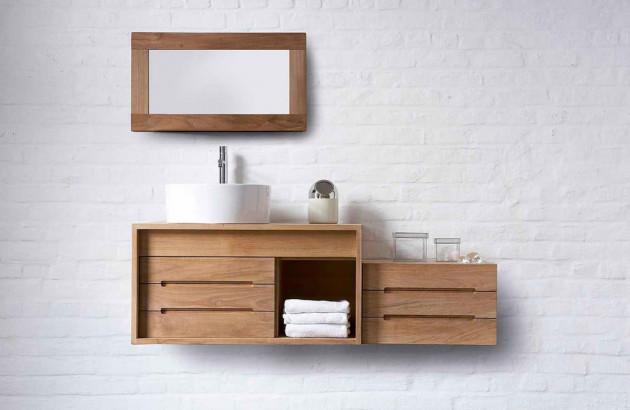 meubles de salle de bains en teck