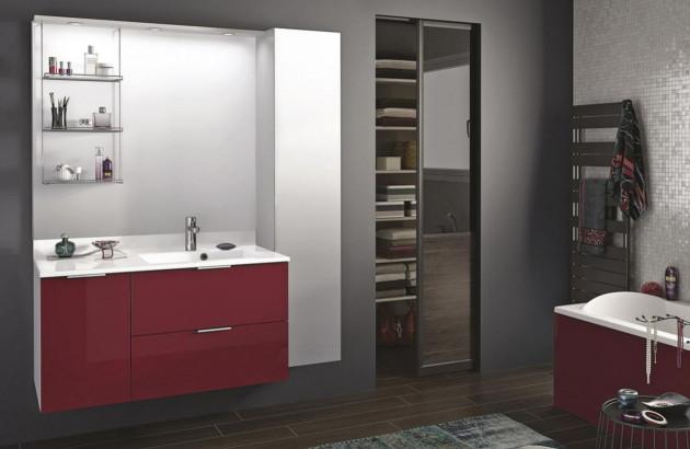 rouge dans votre salle de bain