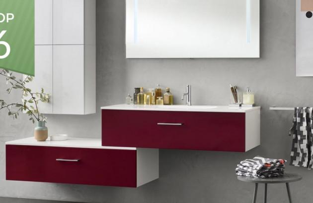 top meubles salle de bain rouges