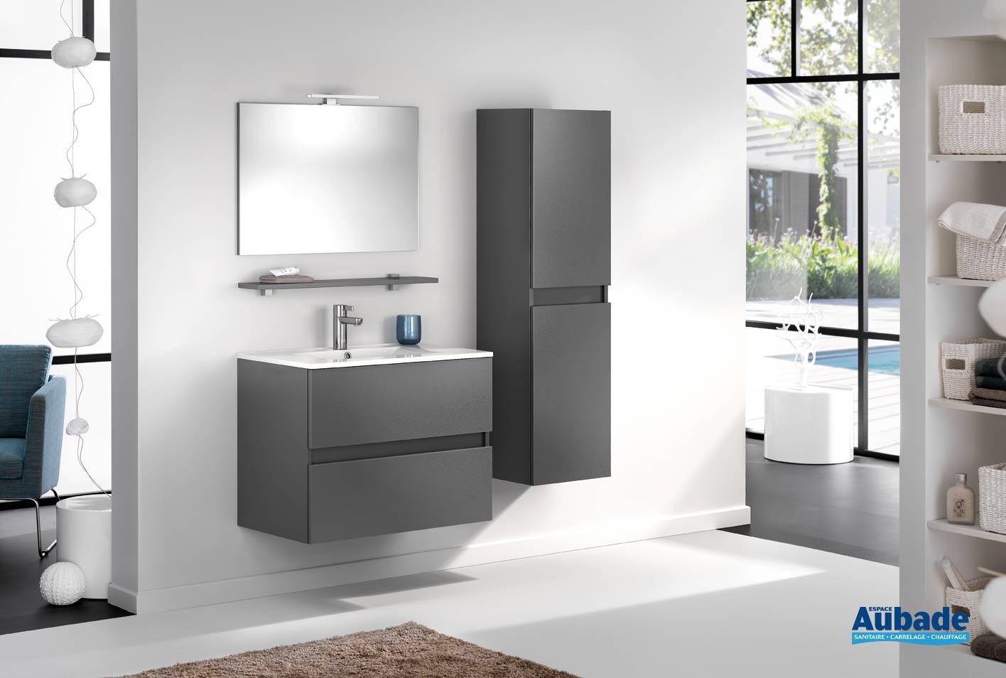 meuble de salle de bains avec 2 coulissants d motion l 80 cm graphite satine par delpha