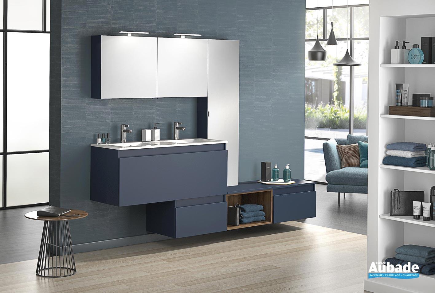 meuble double vasque avec 1 coulissant d motion l 120 cm sur ensemble l 240 cm bleu de minuit mat par delpha