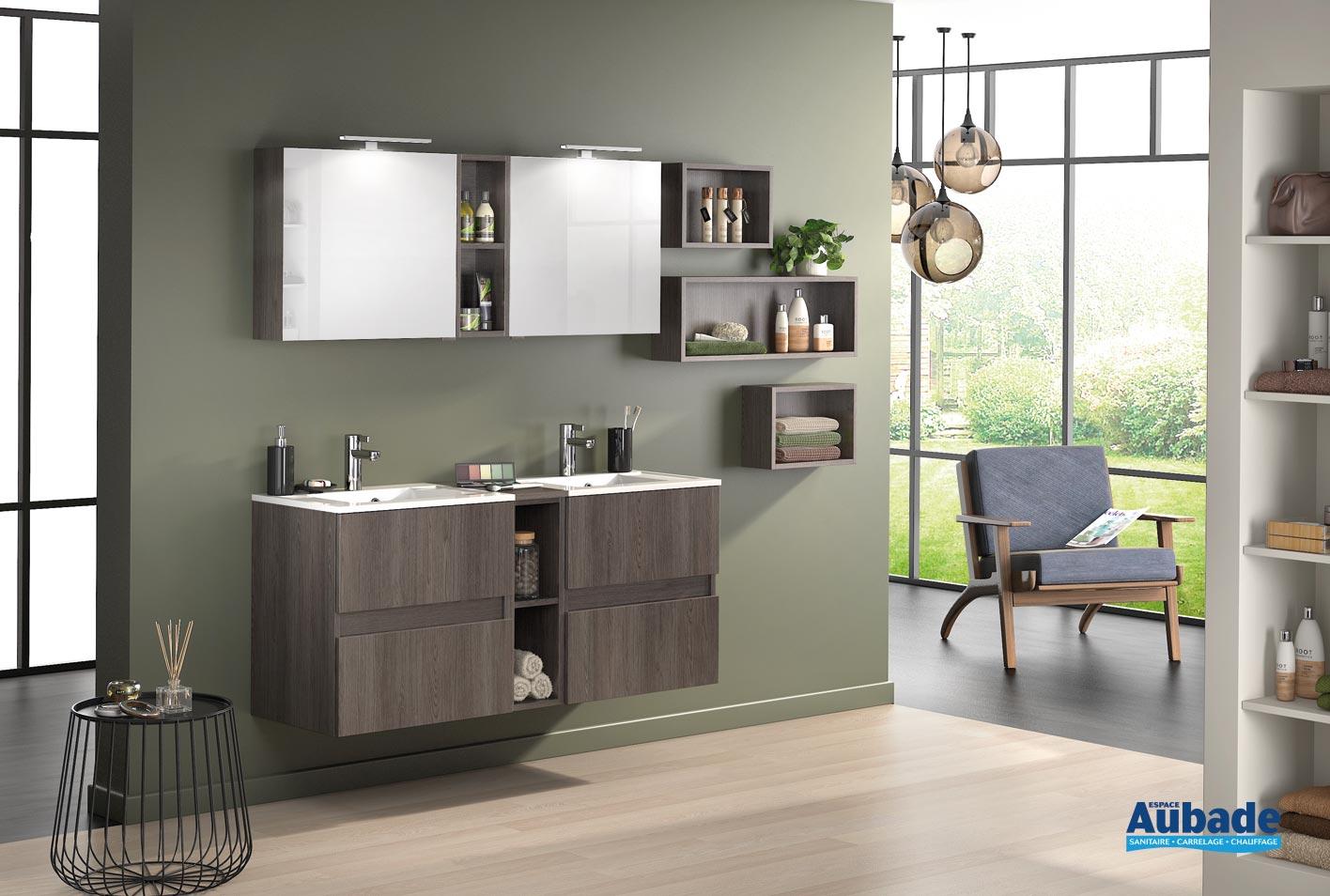 meuble de salle de bains avec 2 coulissants d motion l 60 cm sur ensemble l 140 cm chene havana structure par delpha