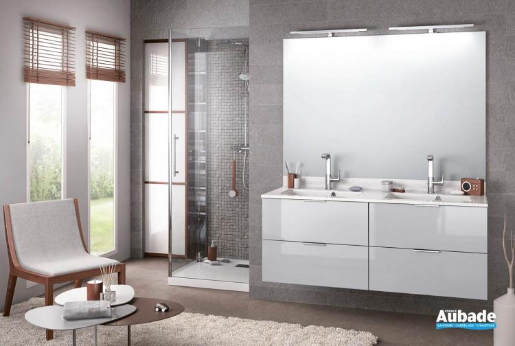 meuble de salle de bains delphy evolution 140 gris nuage satine