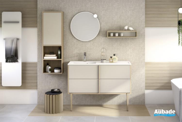 meuble de salle de bains avec 2 coulissants evasion l 120 cm beige mat par delpha