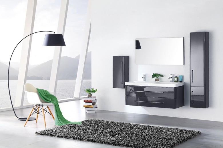 meuble salle de bain double vasque 120 cm 2 colonnes emy gris