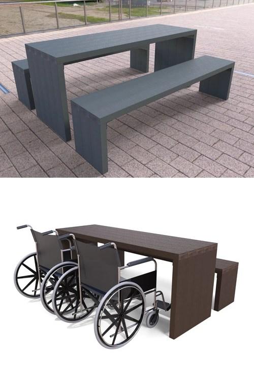 table de pique-nique 100% plastique recyclé adapté aux pmr gamme arche - Table de pique-nique avec banquettes ARCHE ESPACE URBAIN