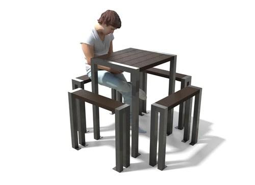 table haute et assis-debout en plastique recycle et acier peint - Table haute avec assis-debout ÉLÉGANCE ESPACE URBAIN