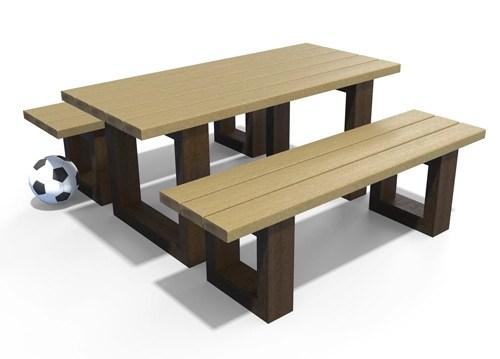 ensemble table et banquette pour enfant en plastique recycle - Ensemble table et 2 banquettes ESCAPADE maternelle ESPACE URBAIN