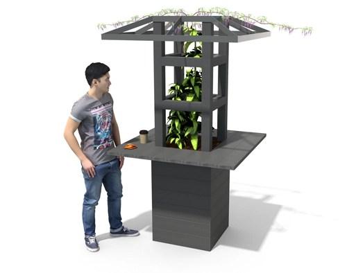 - mange-debout avec jardinière et treille ESPACE ESPACE URBAIN