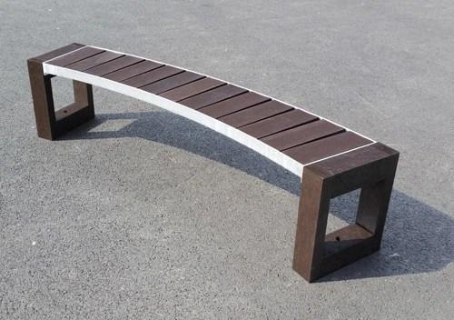 Banquette courbe escapade en plastique recyclé et ossature métal - banquette courbe ESCAPADE ESPACE URBAIN