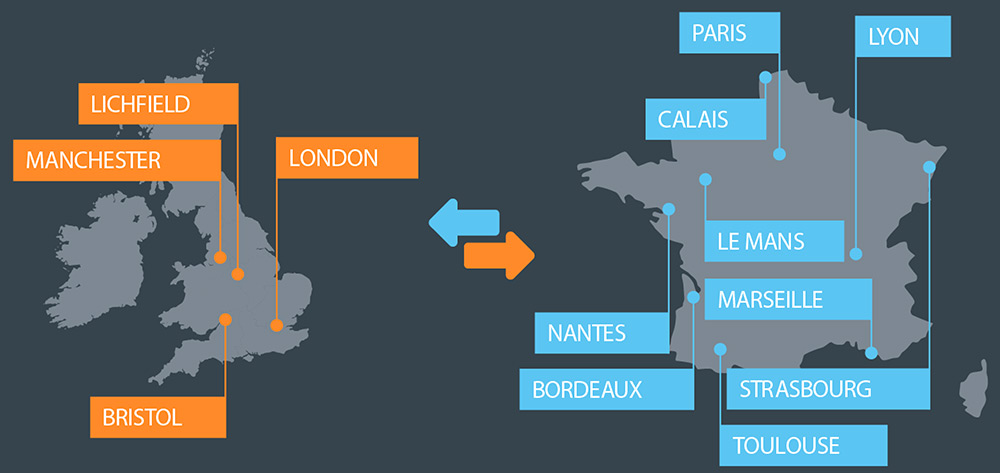 Showing the Espace Network in France and the UK